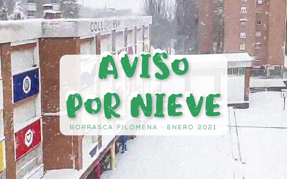 Aviso por nieve · Borrasca Filomena